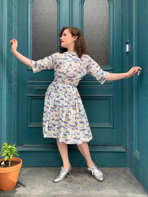 1950s Novelty Print Foxhunt Dress