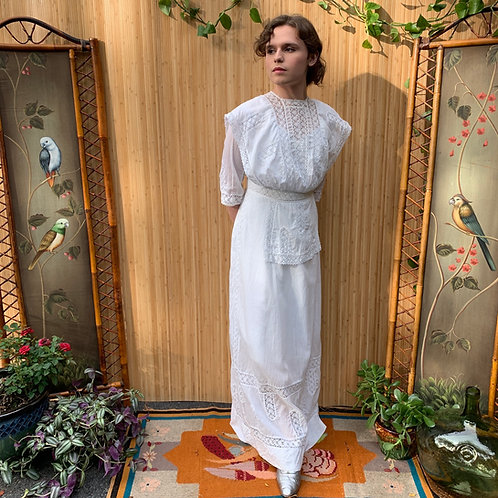Edwardian White Cotton Tea Gown