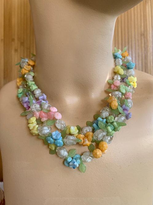 1960s Pastel Flowers Necklace