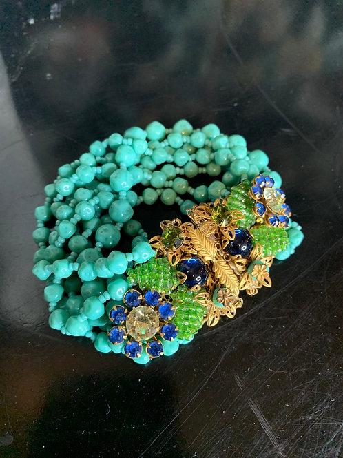 Unsigned Miriam Haskell 1930s/40s Pate de Verre Turquoise Bead Bracelet