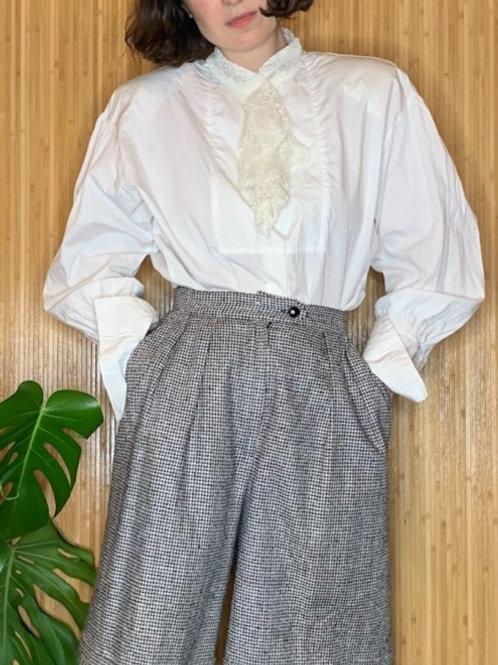 1980s Boxy Tuxedo Shirt with Lace Jabot