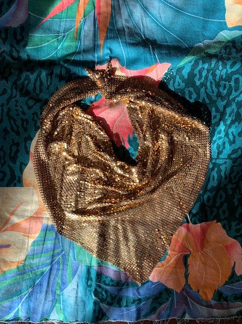 1970s Gold Mesh Bib Necklace