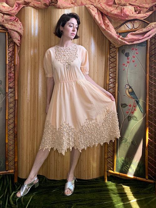 1950s Peach Leaves Dress