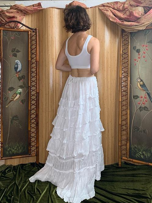 Edwardian White Cotton Lawn Skirt Petticoat