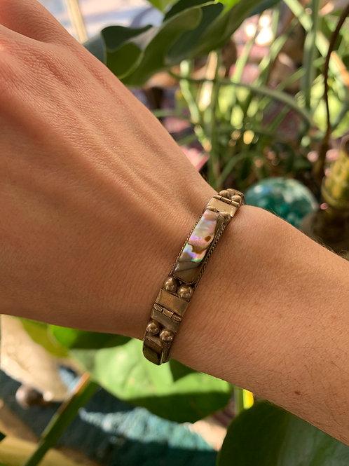 Vintage Mexican Sterling Abalone Bracelet