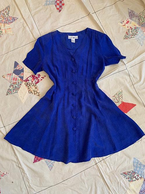1980s Royal Blue Silk Mini Dress