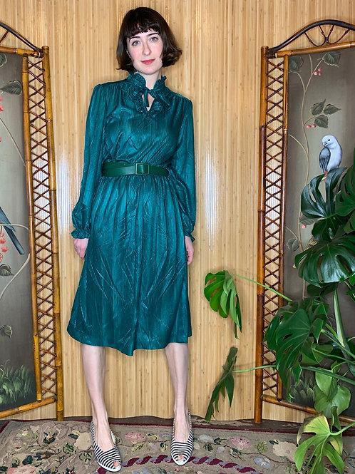 1980s Emerald Shimmer Dress