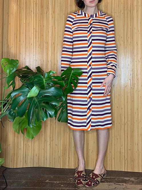 1970s Striped Jersey Knit Dress