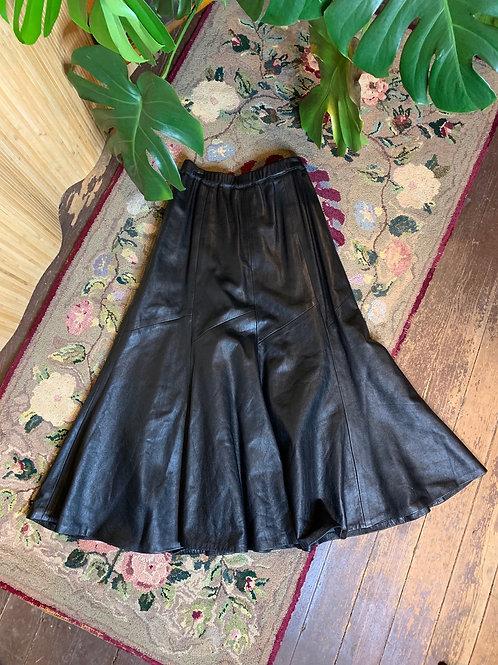Leather Flare Midi Skirt