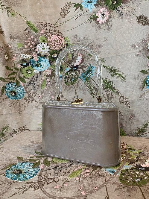 1950s Gray Lucite Handbag