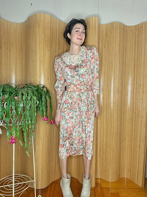 1980s Flowers and Lace Dress