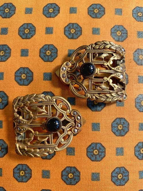 1920s Art Deco Marcasite and Onyx Dress Clips