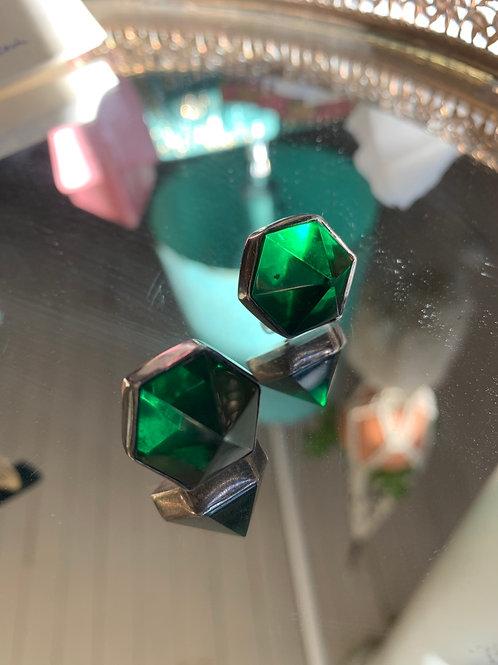 Deco Green Glass & Sterling Earrings
