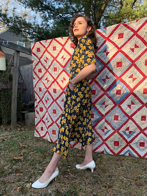 1980s Rayon Lilies Dress