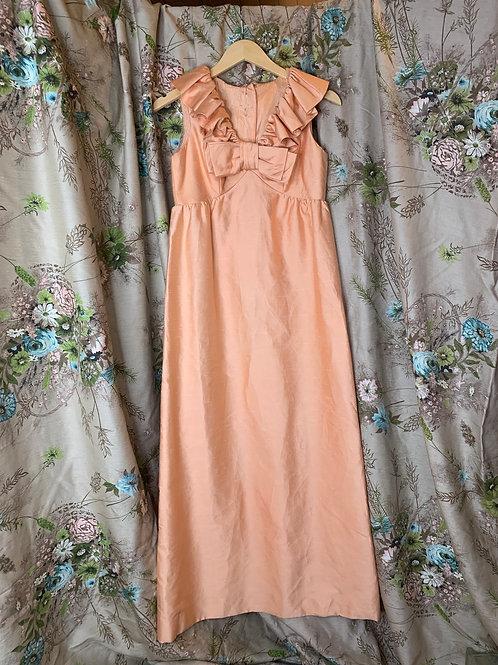 1970s Peach Ruffle Silk Gown