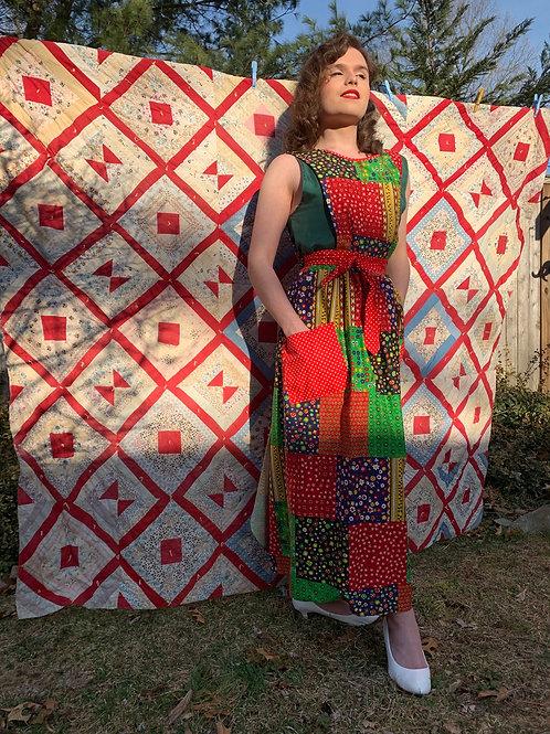 1970s Patchwork Apron Dress