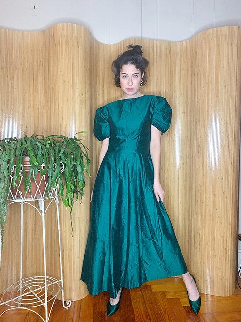 1980s Taffeta Silk Puff-Sleeve Dress
