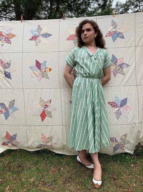 1940s Cotton Stripes Day Dress