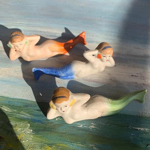 1940s Japan Mermaid Bisque Figurines
