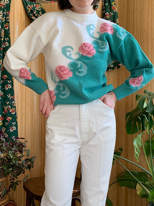 1980s Acrylic Floral Pullover Sweater