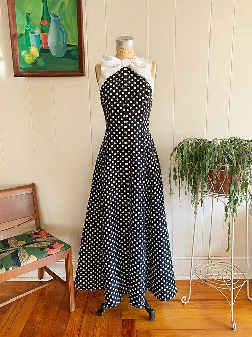1950s Polka Dot Halter Gown