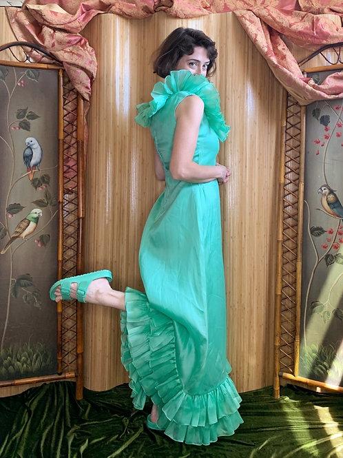 Seafoam Oscar de la Renta* Ruffle Taffeta Gown