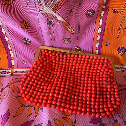 1960s Made in Italy Coral Beaded Clutch