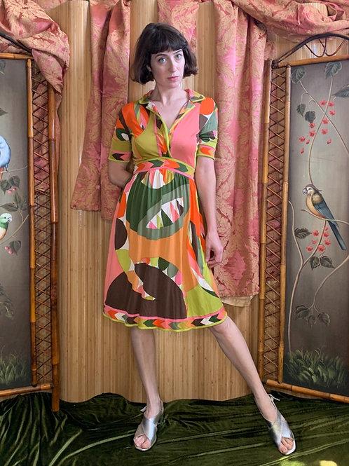 1960s Emilio Pucci Silk Jersey-Knit Short Sleeve Dress