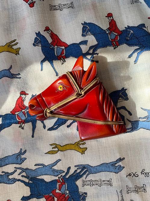 Red Bakelite Horse Head Brooch