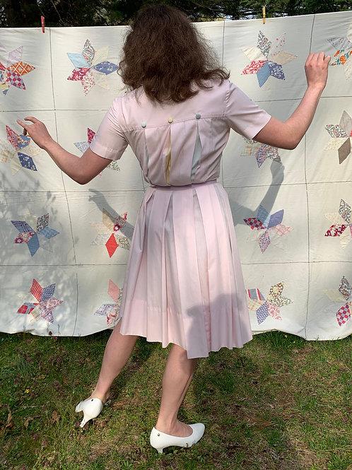 1950s Pastel Pleats Cotton Shirtwaist Dress