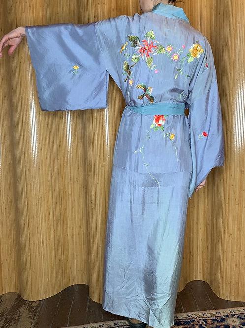1940s CPO Embroidered Blue Silk Kimono
