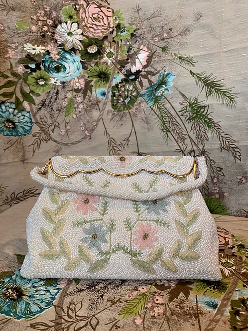 1940s Made in Japan Flower Beaded Clutch