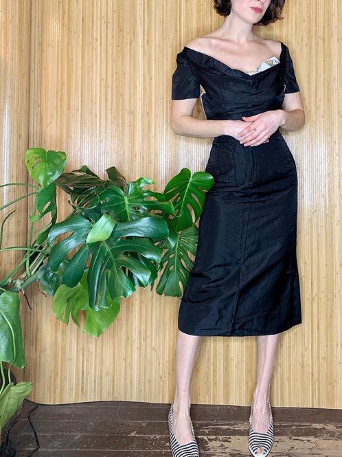 1950s Satin Wiggle Dress w/ Peek-a-Boo Bow
