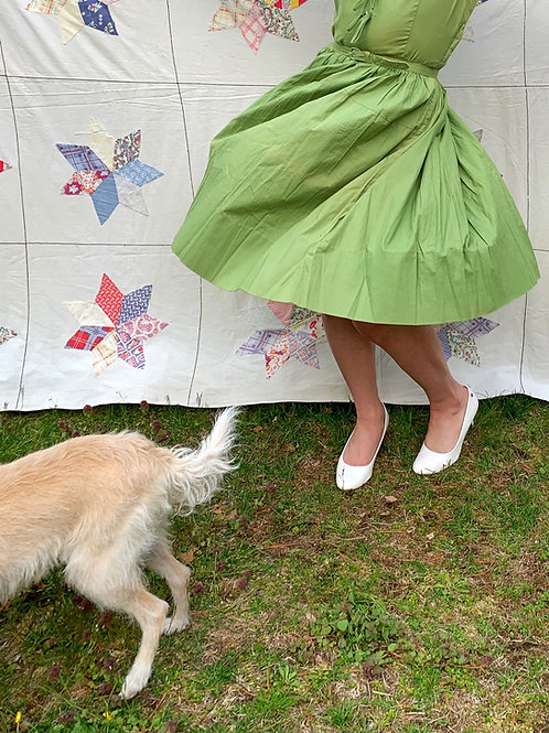 1950s Green Sleeveless Cotton Dress