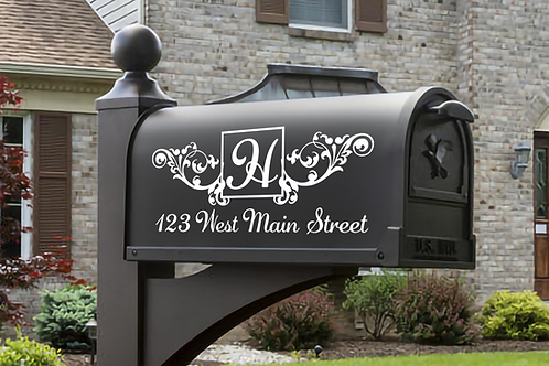 Set of 2 Monogram Vinyl Mailbox Decals Sticker Personalized With Address