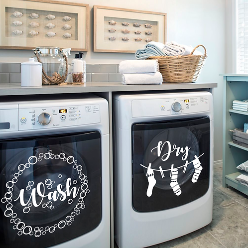 Wash Dry Laundry Decals, set of 2