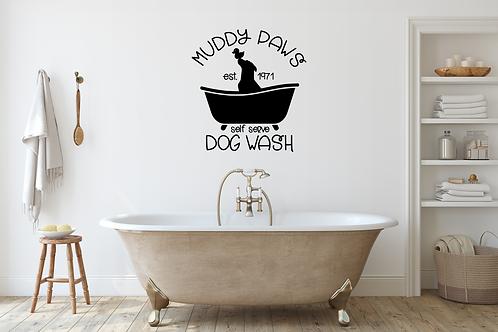 Muddy Paws Dow Wash bath wall decal