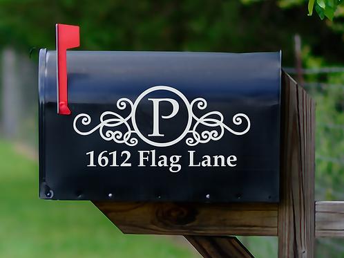XL Set of 2 Monogram Vinyl Mailbox Decals Sticker Personalized With Address