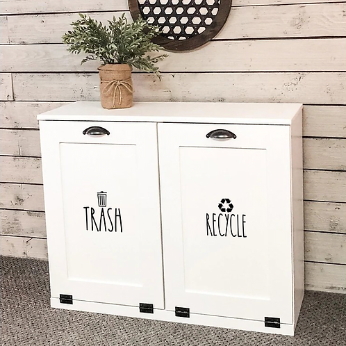 Rae Dunn Inspired Lettering for Kitchen Trash Recycling, set of 2