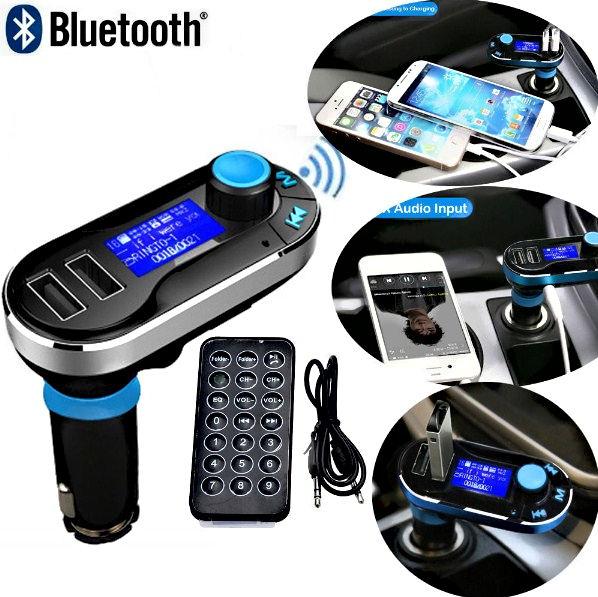 Kit voiture Bluetooth Lecteur MP3 Transmetteur FM SD LCD Chargeur de téléphone