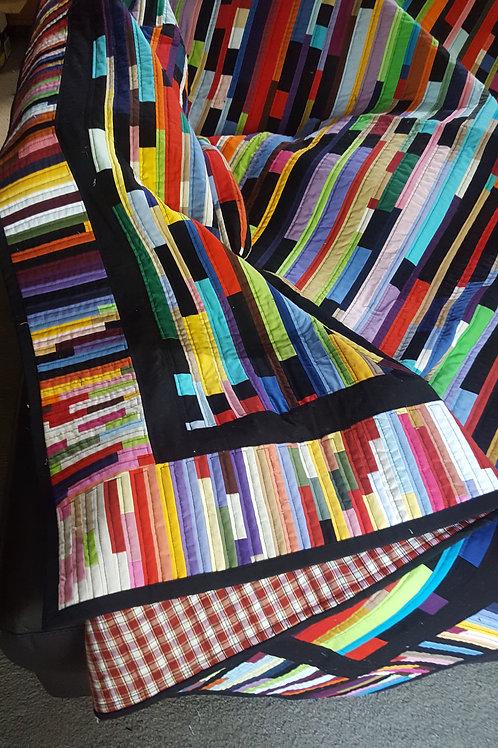 Multi Coloured Strippy Quilt