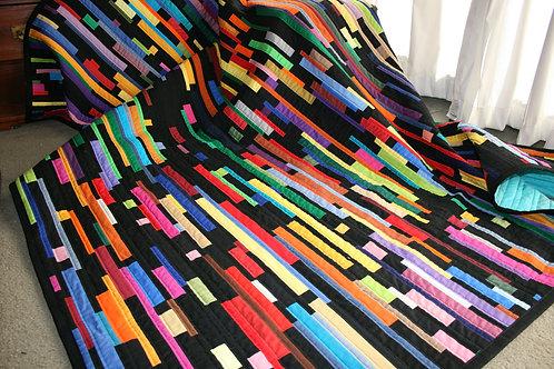 Black Coloured Strippy Quilt