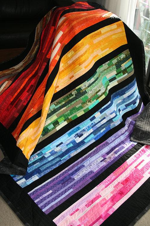 Rainbow Strippy Quilt