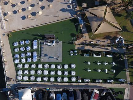 צילום אווירי גן אירועים על הכנרת