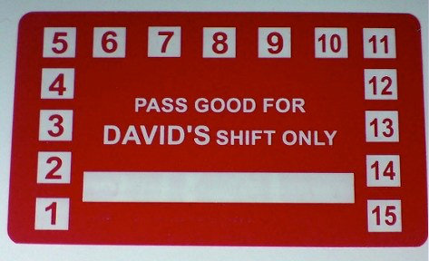 Admission Passes for David's Shift Only