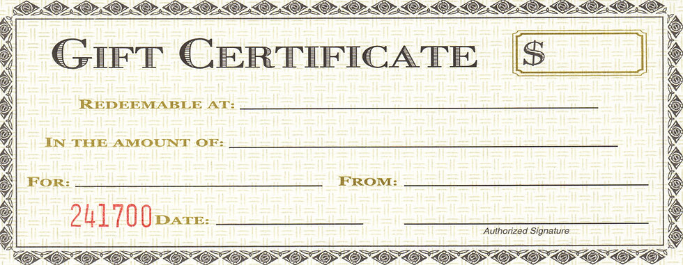 Gift Certificates for David's Shift Only