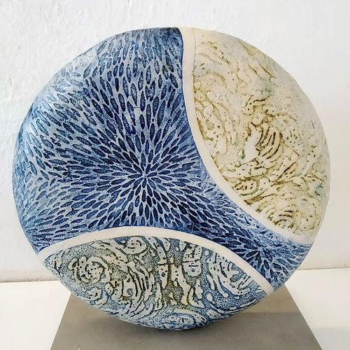 Sea-scape disc -stoneware - 28x28x4cms -