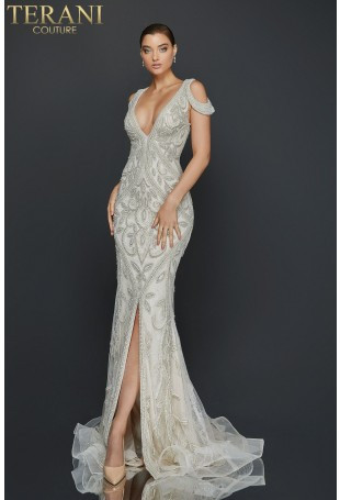Silver Beaded Deep V-Neck Gown by Terani