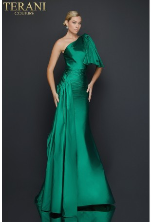 Emerald Green One-Shoulder Gown by Terani