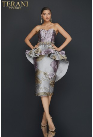 Purple and Gold Strapless Floral Cocktail Dress by Terani